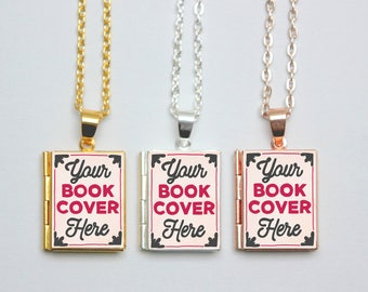 Custom Book Locket Necklace. Personalised Book Cover. Book Charm. Book Jewellery. Author Writer Gift. Literary Jewelry Silver Locket Library