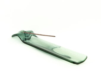 Green and Black Incense Burner - Glass Stick Incense Holder - Meditation Cannabis & Smoking Accessories - Puja - 1586