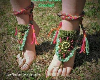 crochet PATTERN for Hippy Foot Jewel, Crocheted summer jewel, jewel for dance show