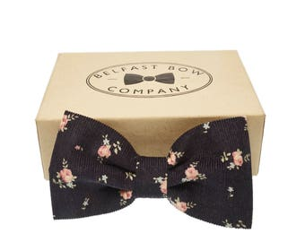 Handmade Corduroy Bow Tie in Navy Floral - Adult & Junior sizes available
