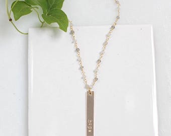 Customized Vertical Bar Necklace with Rosary Chain