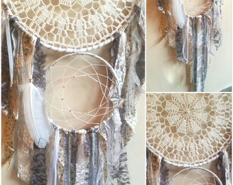 Double dream catcher shades of gray and white with lace