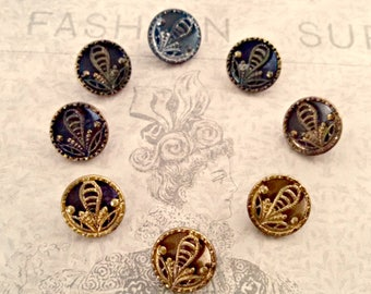 Antique Set of 8 Victorian Brass Picture Buttons, Self Shank, Flower Picture, Half Inch, Antique Supply, Collectible, Circa Mid 1800s