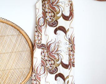 Vintage cream brown floral flower Psychedelic Print 60s 70s sleeveless maxi dress M