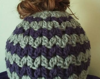 Messy bun hat / Pony Tail Hat / Women's winter hat / Purple and Gray Hat / Stocking Stuffer / Winter Gifts