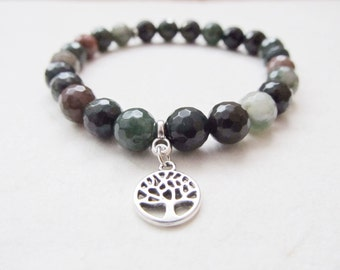 Indian agate bracelet, tree bracelet, yoga bracelet, tree of life bracelet