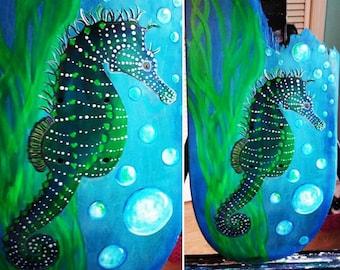 "Art on Re-purposed Skatedeck ""Seahorse"""