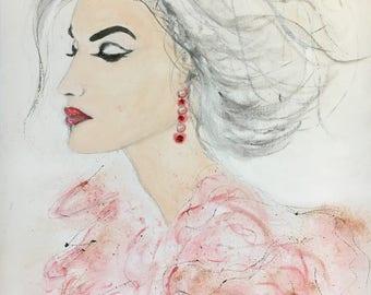 Stylized female portrait acrylic on linen and rhinestones
