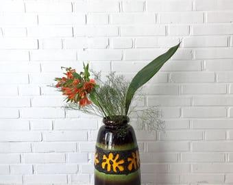 Vintage Vase XL, Mid century vase, fat lava vase, German pottery, mid century ceramics, vintage interior, vase mid century