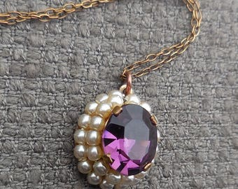 Elegant EDWARDIAN Style Vintage PENDANT Necklace...1940s Amethyst Glass & Faux Pearl Jewellery...Pretty Antique Style Sparkly Chic!