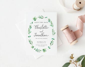 Printable Save The Date Printable - Modern Greenery Save the Date Printable - Wedding Invites PDF - Letter or A4 Size (Item code: P1048)