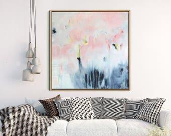 Abstract Canvas Painting, Abstract Acrylic Art, Pink And Grey Abstract Art,  Original Artwork, Contemporary Art, Wall Decor, Wall Art