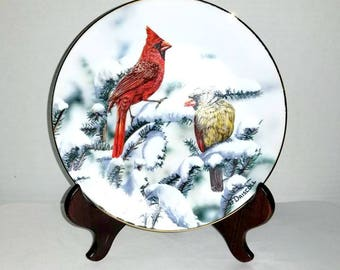 Cardinal Collectors Plate,O'Driscoll, Red Cardinals of Winter,American Songbirds,Limited Edition,1989,Birds,Cardinals,Hamilton Collection