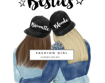 Besties Clip Art, Best Friends Illustration, Fashion Illustration, Blonde and Brunette USA Friends, Digital Clip Art, 2 PNG Designs, 300 DPI