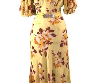 Gorgeous 1930s Magnolia Floral Silk Chiffon Gown Party Dress- 30s Dress