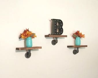 Rustic Display Shelf Set, Floating Shelves, Mini Shelf Set, Wall Decor, Country Farmhouse Decor, Industrial Pipe