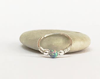 Opal Nose Hoop, silver nose ring, tiny nose hoop, grey opal nose ring, nose hoop 18g, nose ring hoop, nose piercing, nose ring 20g, hoop 22g