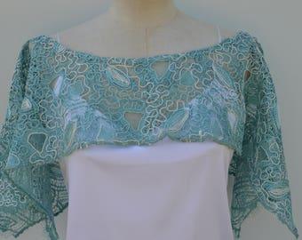 Cache shoulder lace rebroder blue, ivory, lace cape blue, ivory