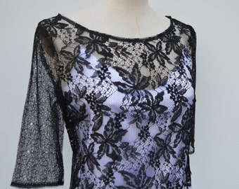 Lace top long sleeve, collar Black Lace bar top lace flowers 3/4 sleeves blouse, top Gothic 3/4 sleeve black top, black