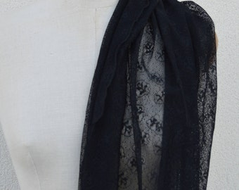 Black Lace, mesh lace scarf black shawl, stole chic black, black elegant shawl, lace flowers, shawl lace city