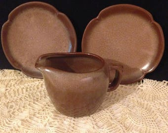 "Vintage Frankoma Pottery Plainsman 5E Brown Satin, Set of 3, Two Bread Plates 5.75"", Creamer, Mid Century Modern, Replacement China"