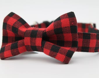 Buffalo Plaid Dog Collar Bow Tie, Red Buffalo Plaid Dog Collar Bow Tie, Blue Buffalo Plaid Dog Collar Bow Tie, Custom Dog Collar Bow Tie