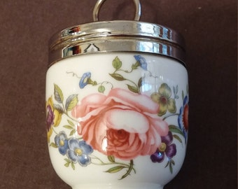 Royal Worcester Porcelain Egg Coddler Bournemouth Rose