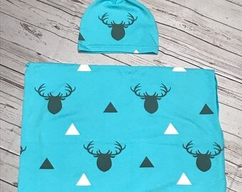 Newborn Swaddle, Newborn Baby Boy Swaddle, Newborn Deer Print Swaddle, Newborn Baby Swaddle Gift Set, Baby Swaddle Blanket, Baby Beanie Cap