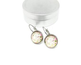 Stud Earrings - stainless steel - glass 12 mm shank - cabochons - flower earring - hypoallergenic / Flowers earrings