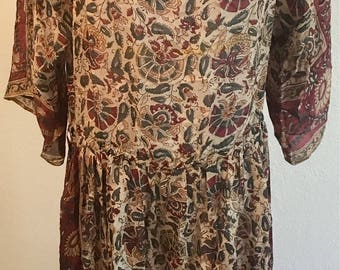 1970s vintage Silk dress Made in India 1920s style bohemian Flapper