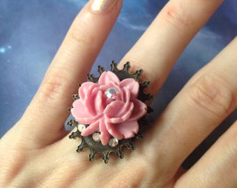 Ring size adjustable pink rose