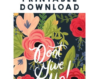 Digital Download - Don't Give Up! 2017 Convention of Jehovah's Witnesses Notebook, JW Gift, JW Convention Notebook, Floral Design, PDF File