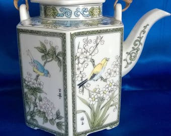 Vintage Chinese Tea Pot with Wicker Handle, Birds and Flowers Design
