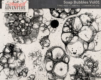 Handmade, Soap, Bubbles, Photoshop Brushes, Commercial Use OK, Instant Download, Paint Splatters, Mixed Media, Ink Brushes, Inked Stamps