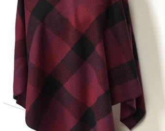 Maroon and black plaid brushed cotton poncho