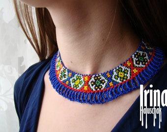 Folk Ukrainian beaded necklace Ukrainian style necklace Sylianka Gerdan Blue necklace Pokuttia necklace ethnic style necklace