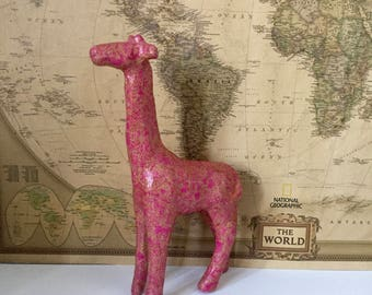 Unique Decoupaged Pink And Gold Giraffe - Gift - Ornament