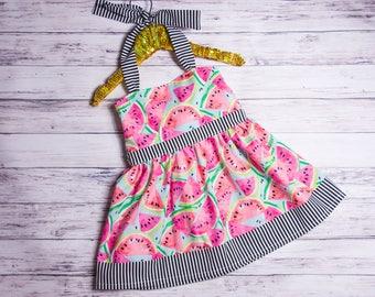 Watermelon Halter Dress, baby girl watermelon dress, watermelon outfit, watermelon party outfit, watermelon party dress
