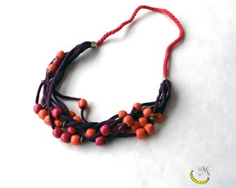 Fabric necklace with wooden beads
