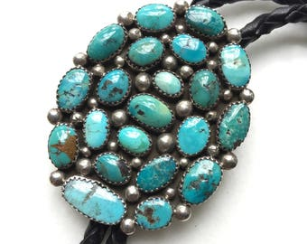 Vintage Signed Native American Sterling Silver Cluster Turquoise Bolo Tie