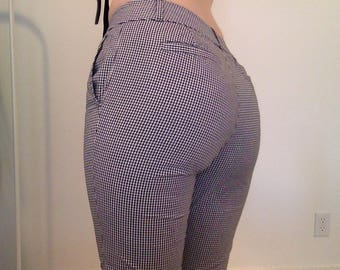 Black & White Gingham Print Low Waisted Pants