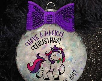 Personalized Magical Unicorn Handmade Holiday Ornament Gift | Drink Coaster | Unicorn Ornament | Unicorn Christmas | Girl Gift | Sparkly