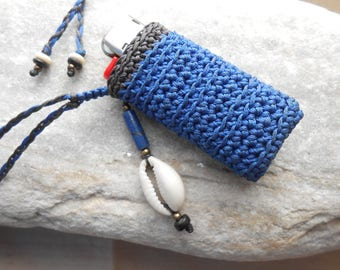 Lighter Cover Necklace - Lighter Holder - blue/anthracite with Lapis Lazuli & Cowrie Shell - crochet Lighter Case - gift idea for smokers