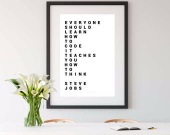 STEVE JOBS, steve jobs print, inspirational quotes, engineering, computing, computer science, engineer gift, science gift, nerdy printable