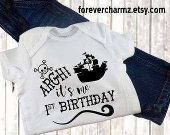 Pirate First Birthday Baby Bodysuit Creeper One Piece Toddler Tee T Shirt 1st One Year Old Gift Idea Pirate Ship Scull Crossbones