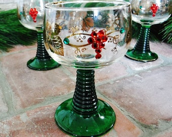 4 Wine Glasses/Holiday Roemer Wine Glasses/Christmas/Barware/Swarovski Crystal Glasses/Jewels/Green Stem/Clear Gold Red/Set of 4/Vintage