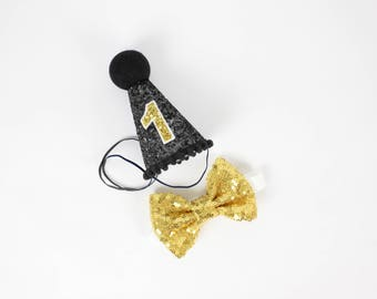 First Birthday Hat Smash Cake Outfit Boy | 1st Birthday Outfit Boy | Cake Smash First Birthday Boy | Birthday Party Hats | Black + Gold