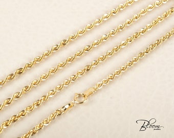 Gold Rope Chain 14K Gold Rope Necklace Solid Gold Rope Chain Necklace Real Gold Chain Gold Necklace Rope Chain