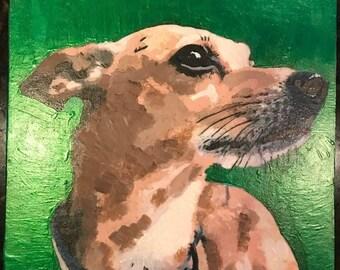 "Hand-painted pet portrait 8"" x 8"" acrylic on canvas, unframed"