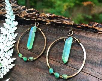Earrings - Hammered Brass & Mint Crystals